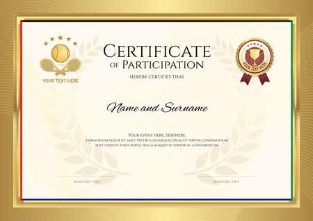Plantilla de certificado en tema de deporte de tenis con marco de borde dorado, diseño de diploma Ilustración de vector
