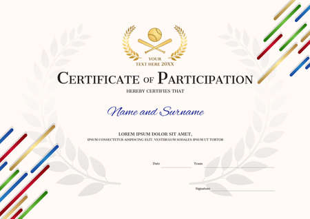 Certificate template in baseball sport theme with sport color stripe theme background, Diploma design Illustration