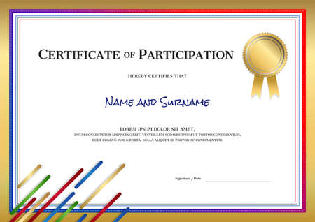 Certificate template in sport theme with border frame, Diploma design Stock fotó - 104205186