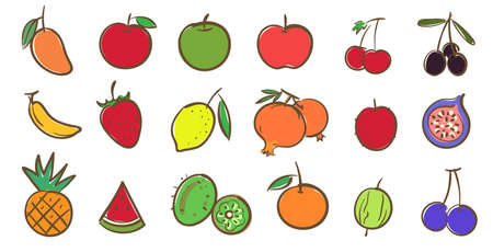 Mix fruits collection, cute colorful vector illustration in cartoon style Ilustracja