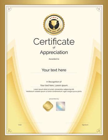 Modèle de certificat dans le thème du sport avec cadre de bordure, conception de diplôme Vecteurs