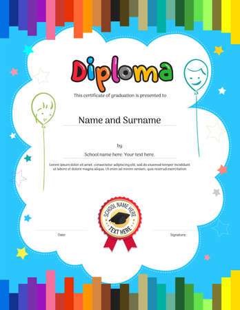 Kids Diploma or certificate template with colorful stripe background  イラスト・ベクター素材