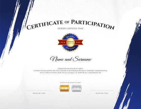 Plantilla de certificado en tema deportivo con marco de borde, diseño de diploma Ilustración de vector