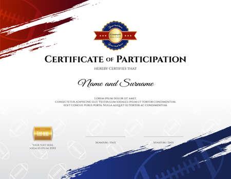 Plantilla de certificado en tema de deporte de rugby con marco de borde, diseño de diploma