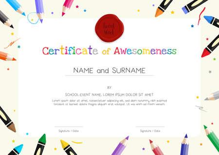 Plantilla de diploma o certificado para niños con borde de material de pintura