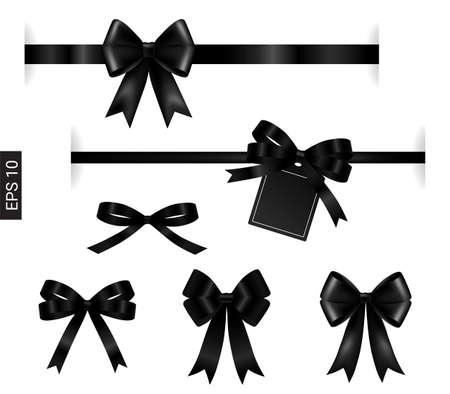 Black ribbon with tag element on white for decoration Vektorové ilustrace