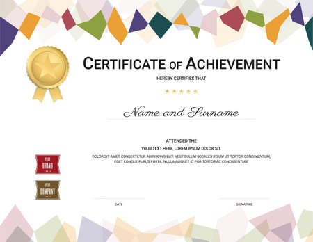 Certificate template in colorful theme with watermark background, Diploma design 向量圖像