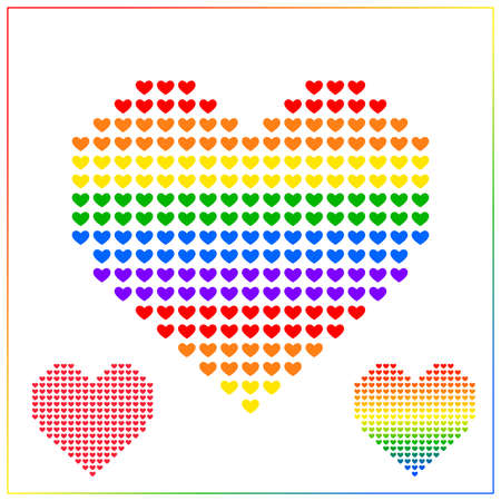 Heart icon vector background for LGBT love concept with colorful rainbow heart
