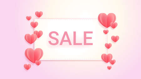 Sweet color sales banner background with hearts in paper cut style, banner background for love celebration event 向量圖像
