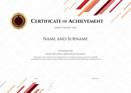 Certificate template in sport theme with watermark background, Diploma design