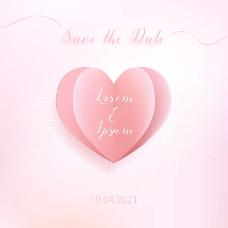 Sweet color heart in paper cut style with save the date wording, banner background for wedding or love celebration