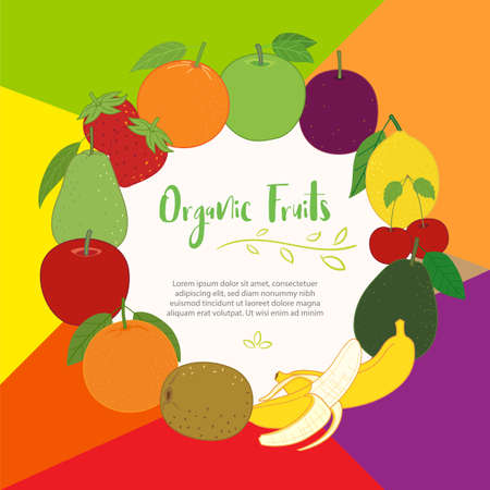 Fruits cute banner background template with copy space for promotional or sales event