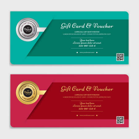 Gift certificate, voucher, gift card or cash coupon template in vector format Çizim