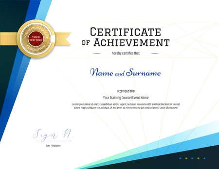 Plantilla de certificado moderno con elegante marco de borde, diseño de diploma para graduación o finalización