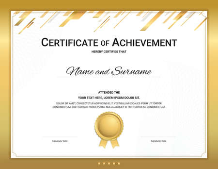 Gold certificate template in sport theme with watermark background, Diploma design