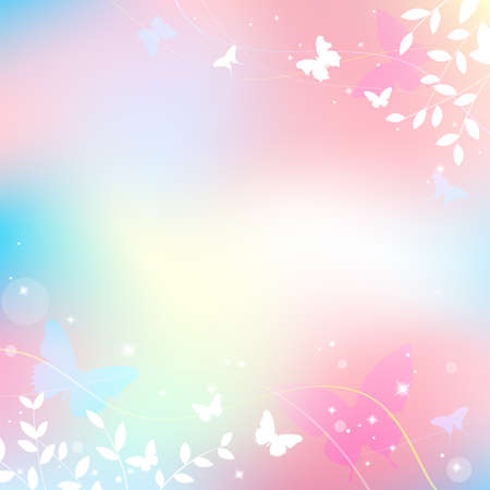 Abstract spring summer background in light pink pastel color, sweet love theme with butterfly and tree