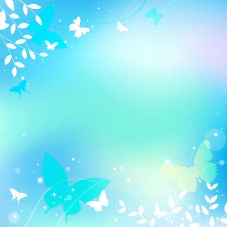 Abstract spring summer background in light pastel color, environmental theme with butterfly and tree 向量圖像