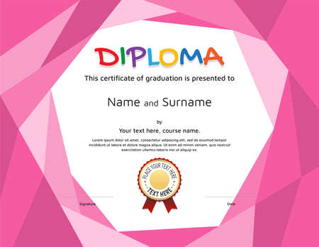 Kids Diploma or certificate template with colorful background