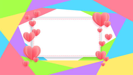 Colorful banner with heart in paper cut style, banner background for love celebration or events