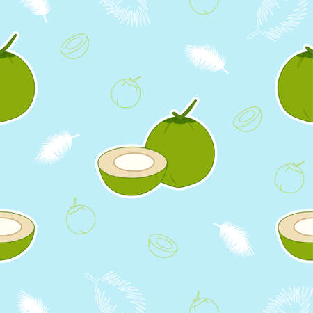 Young coconut seamless pattern background