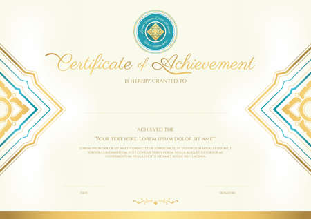 Luxury certificate template with elegant border frame, Diploma design for graduation or completion 일러스트