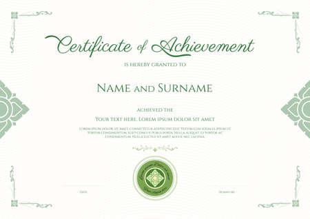 Luxury certificate template with elegant border frame, Diploma design for graduation or completion Ilustração