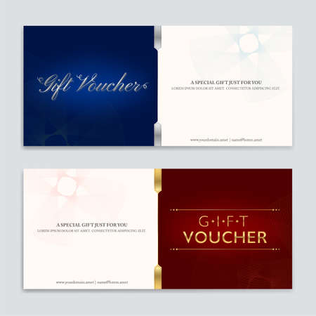Gift certificate, voucher, gift card or cash coupon template in vector format 일러스트