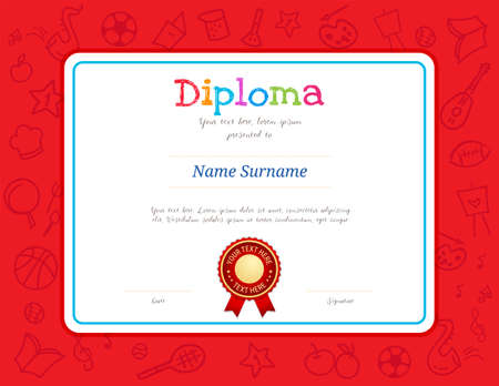 Kids Diploma or certificate template with colorful background for kid