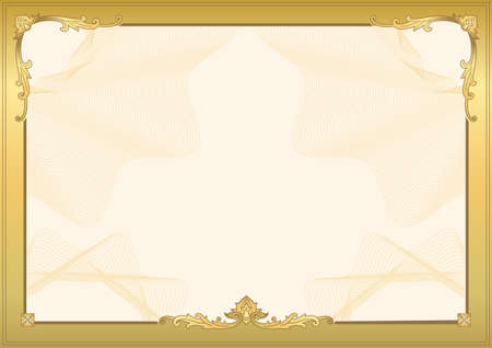 Decorative border and frame template in square shape, vintage frame design for certificate, diploma, voucher and greeting card