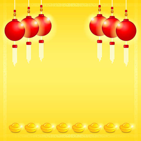 Chinese style banner, invitation card for new year or celebration event with copy space Çizim