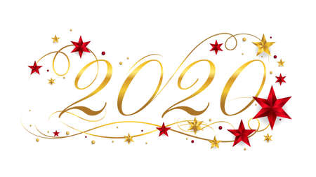 2020 Happy New Year lettering banner design with ornament for new year celebration