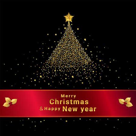 Shining Christmas tree at night banner for festive season Çizim