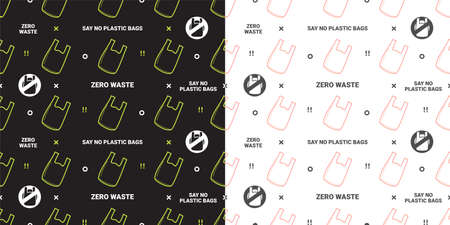 Zero waste and say no to plastic bags seamless pattern on green background Çizim