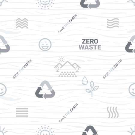 Zero waste and say no to plastic bags seamless pattern on green background Illustration