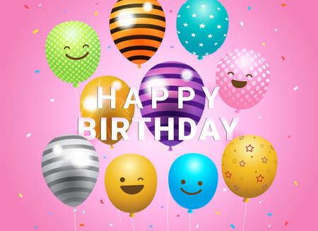 Birthday banner card frame template with colorful balloons and copy space Foto de archivo - 138468162