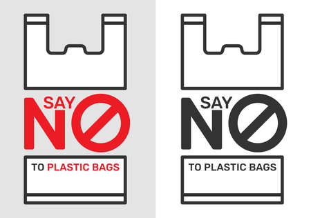 Say no to plastic bags sign and symbol, an environmental conservation concept symbol Illustration