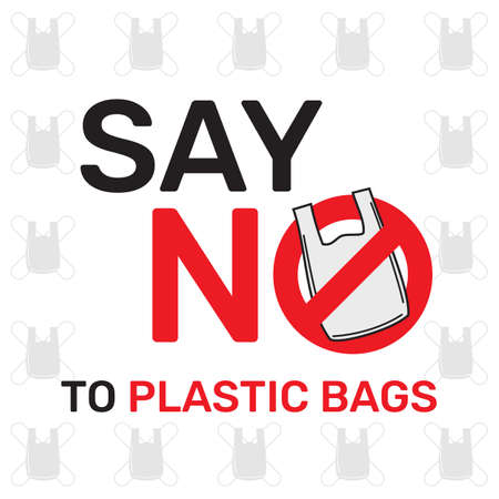 Say no to plastic bags sign and symbol, an environmental conservation concept symbol Çizim