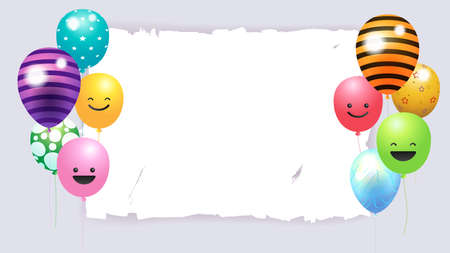 Happy Birthday banner card frame template with colorful balloons and copy space