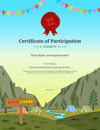 Kids certificate template in vector for camping participation Illustration