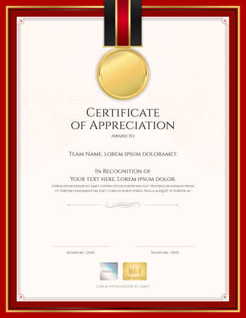 Certificate template in sport theme with border frame, Diploma design