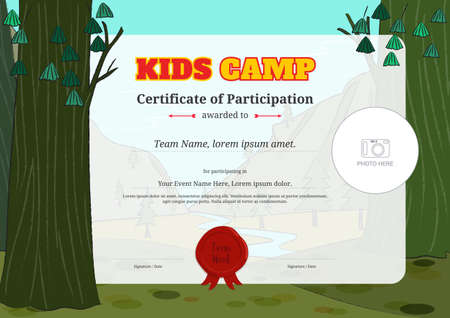 Kids certificate template in vector for camping participation Çizim