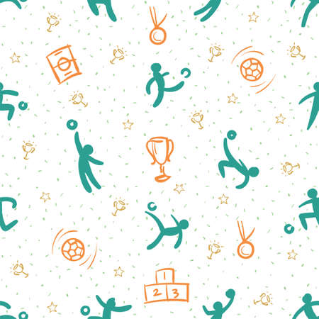 Sport theme seamless pattern background; football Çizim