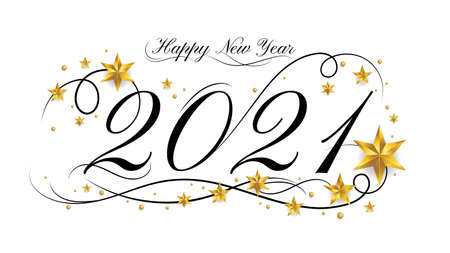 2021 Happy New Year lettering banner design with ornament for new year celebration 向量圖像