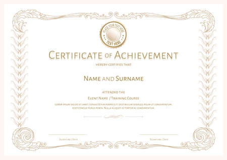 Luxury certificate template with elegant border frame, Diploma design for graduation or completion 向量圖像