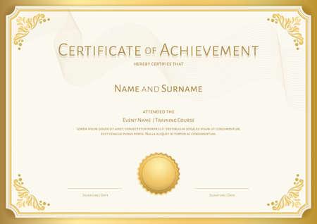 Luxury certificate template with elegant border frame, Diploma design for graduation or completion Vektorgrafik