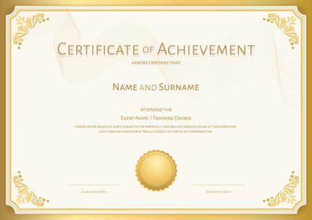 Luxury certificate template with elegant border frame, Diploma design for graduation or completion Vector Illustration