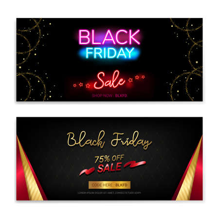 Black Friday Sales gift voucher or banner background in neon theme