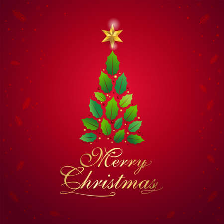 Merry christmas card with graphic christmas tree and gold star in vector illustration