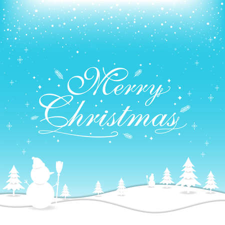 Merry Christmas banner poster template with festive elements; snowman, pine tree 向量圖像
