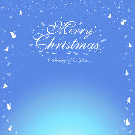 Merry Christmas banner poster template with festive elements border; snowman, pine tree